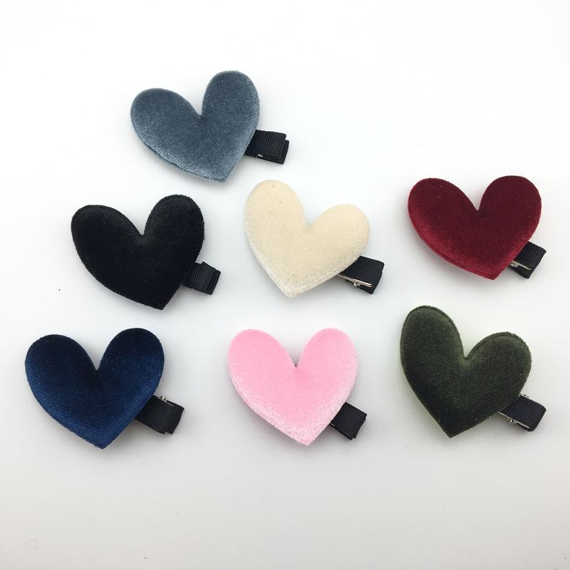 20 adet / grup Kadife Kalp Saç Klip, Sevgililer Polyester Barrettes Moda Tokalar Çocuk Saç Klipleri Kız Şapkalar