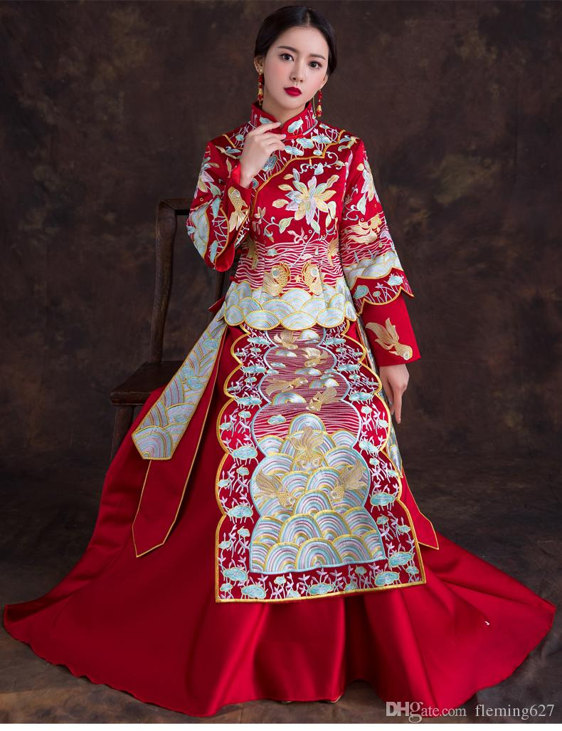 Großhandel Chinesische Hochzeitskleid Robe Anzug Sommer Toast Braut  Hochzeit Kleid Langarm Hochzeit Qipao Modern Oriental Abendkleid Von  Fleming12,