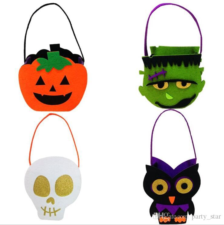 Children Halloween Felt Cloth Skull Pumpkin Owl Zombie Candy Bags Kids Party Non-woven Fabric Gift Bags Party Decorations