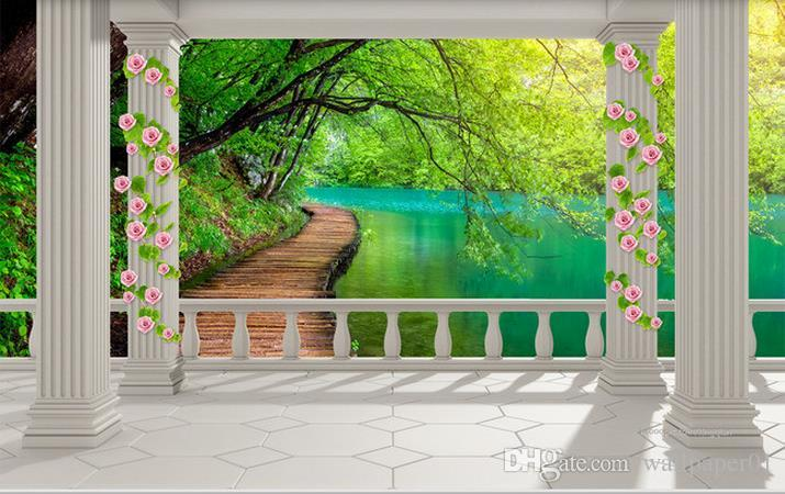 Custom Fototapeta Modern Sztuka Malarstwo Wysokiej Jakości Mural Tapeta Balkon Zielony Lakier Lake 3D TV Tło Wall Paper Mural Malowanie