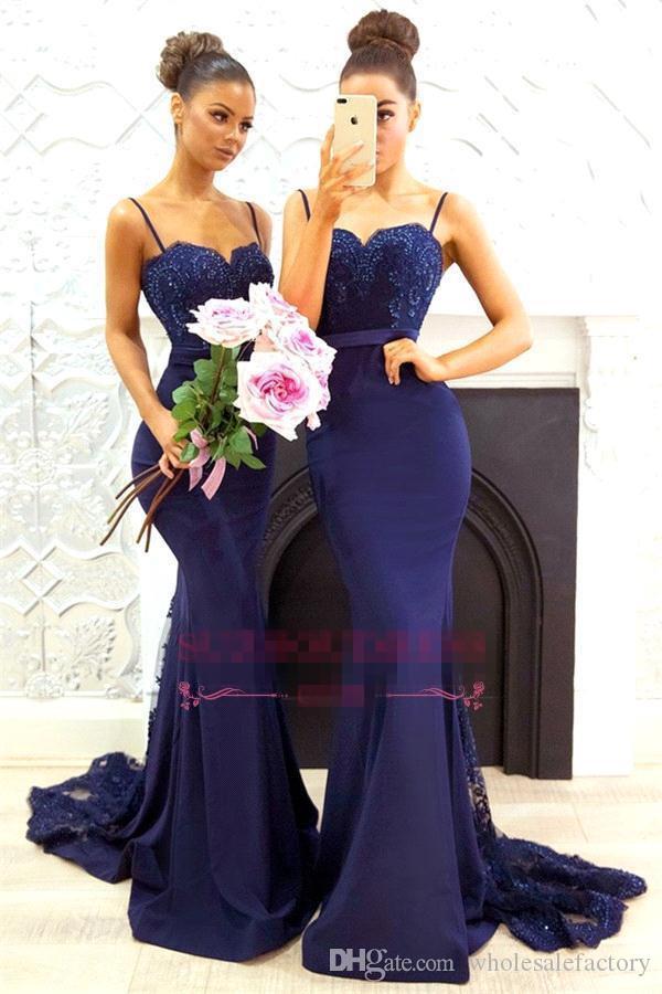 Navy Blue Spaghetti Straps Satin Mermaid Long Bridesmaid Dresses Lace Applique Beaded Wedding Guest Maid Of Honor Dresses BA7878