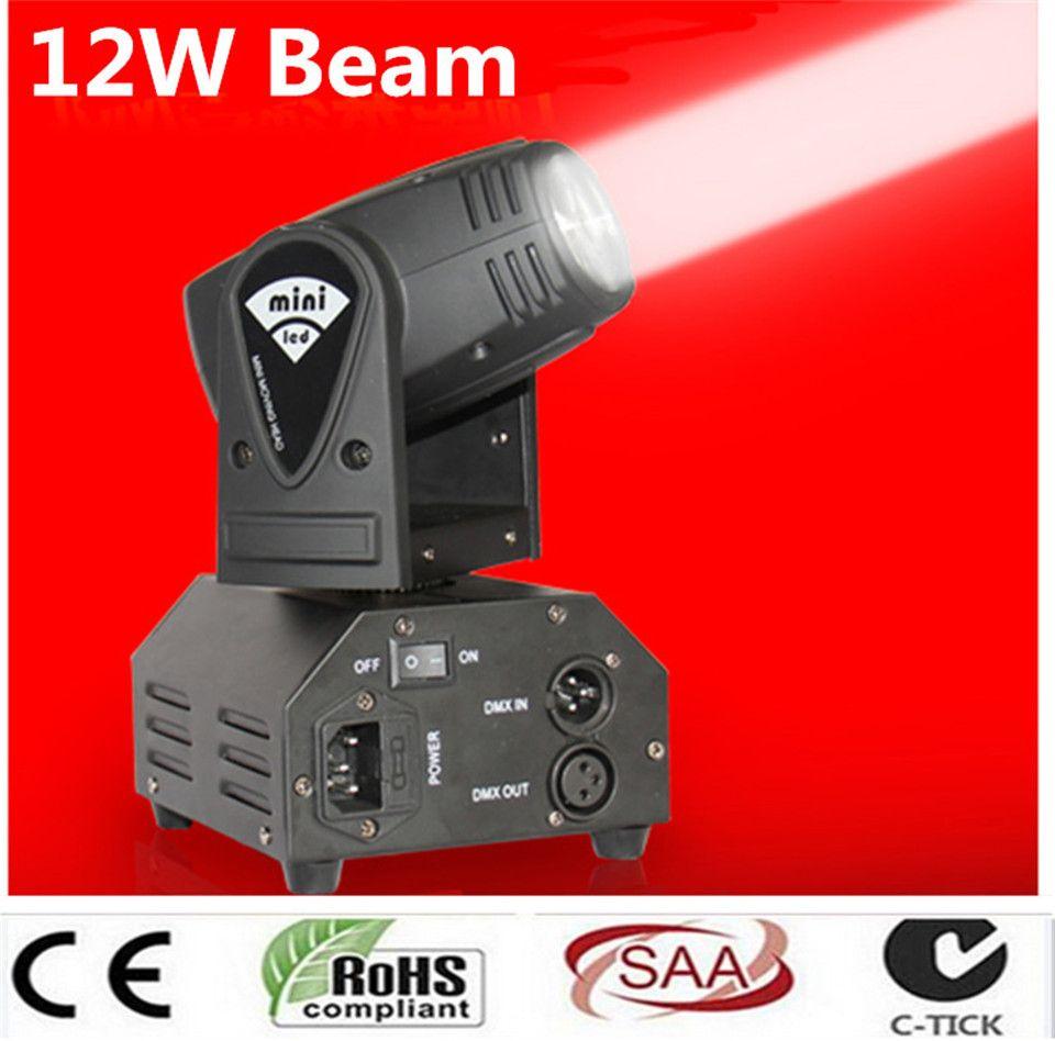 الصمام 12W يتحرك رئيس ضوء أضواء DMX512 شعاع بقعة الإضاءة DJ مشاهدة ديسكو ضوء الليزر RGBW 4IN1 أدى