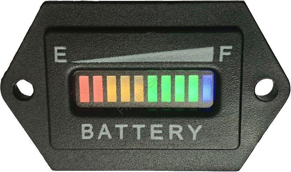 Hexagon 10 Bar LED indicador de carga indicador de carga de la batería digital indicador de la batería para el carrito de golf, carretilla elevadora, barredora.12V 24V 36V 48V 60V