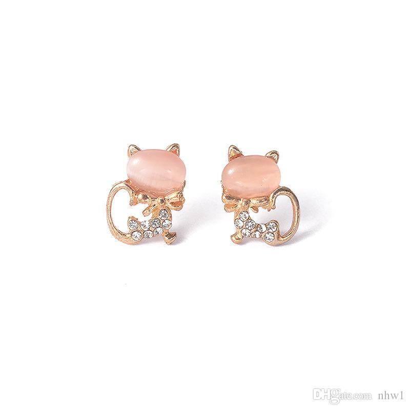 Korean Popular Sweet Temperament Cute Wild Cat Opal Earrings Ear Studs Vintage Women Girls Jewelry Gift