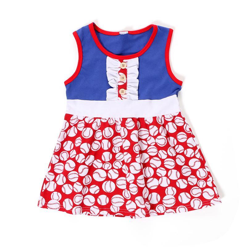 Nowa Moda Dziewczynek Sukienki Dzieci Bez Rękawów Ameryka Niepodległość 4 lipca Kostium Cute DZIECI Ubrania