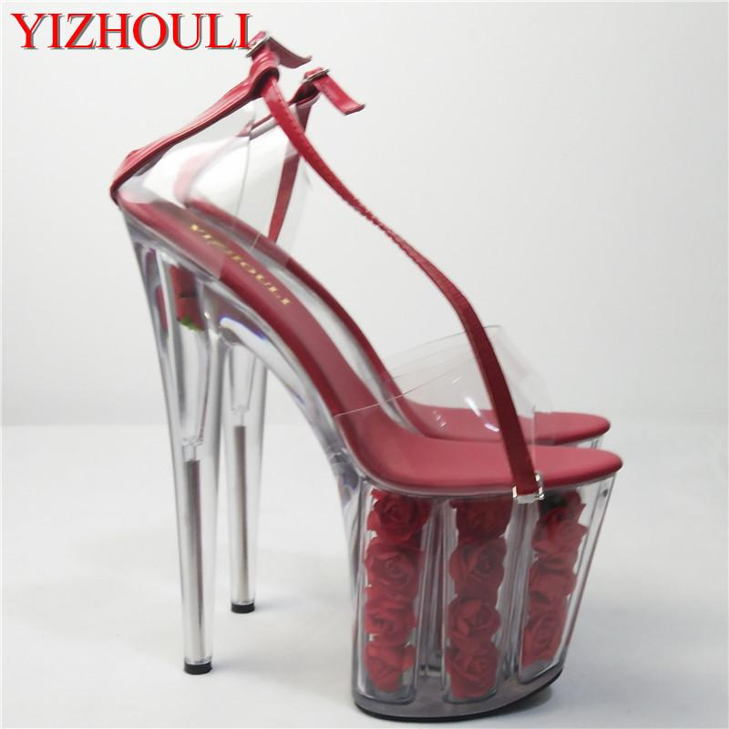 2018 romántica cristal rosa roja novia boda zapatos 20cm sandalias de plataforma ultra alta talones cos 8 pulgadas de alto zapatos de cristal