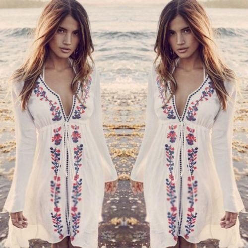 86fcc8aa8dd1 Compre Ropa De Playa Ropa De Playa Ropa De Playa Vestido Floral De Verano  Vestido Corto Bordado Manga Larga Cuello En V Sundress A $25.33 Del Bibei08  ...