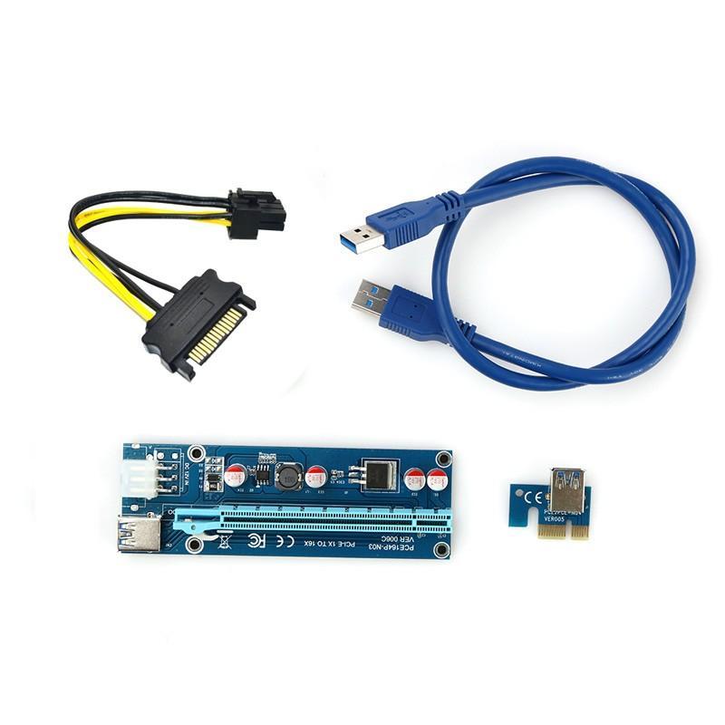 PCIe PCI-E PCI Express Riser Card 1x to 16x USB 3.0 Cable SATA to 6Pin IDE Molex Use for BTC Miner Machine