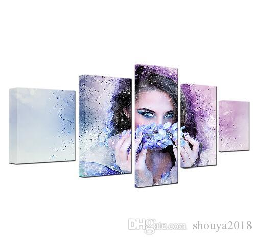 Free shipping 5 Pieces Beautiful Woman With Flower Wreath Watercolor Modular Canvas HD Prints Posters Home Decor Art Oil Wall Pictures