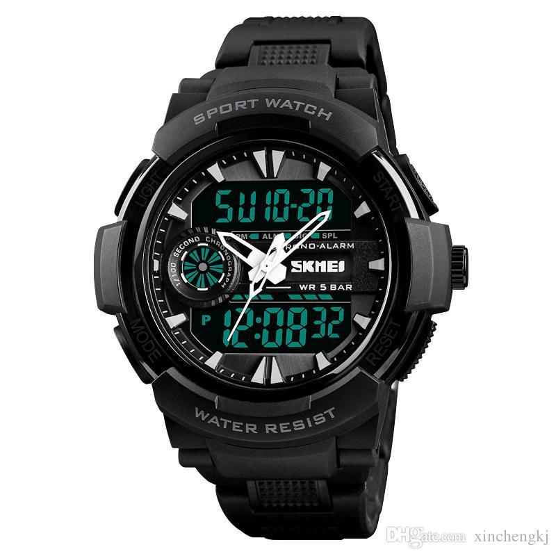 SKMEI 1320 Chrono relógios desportivos LED Mens Digital relógio de quartzo impermeável electrónicos militares Men relógio de pulso Relogio Masculino