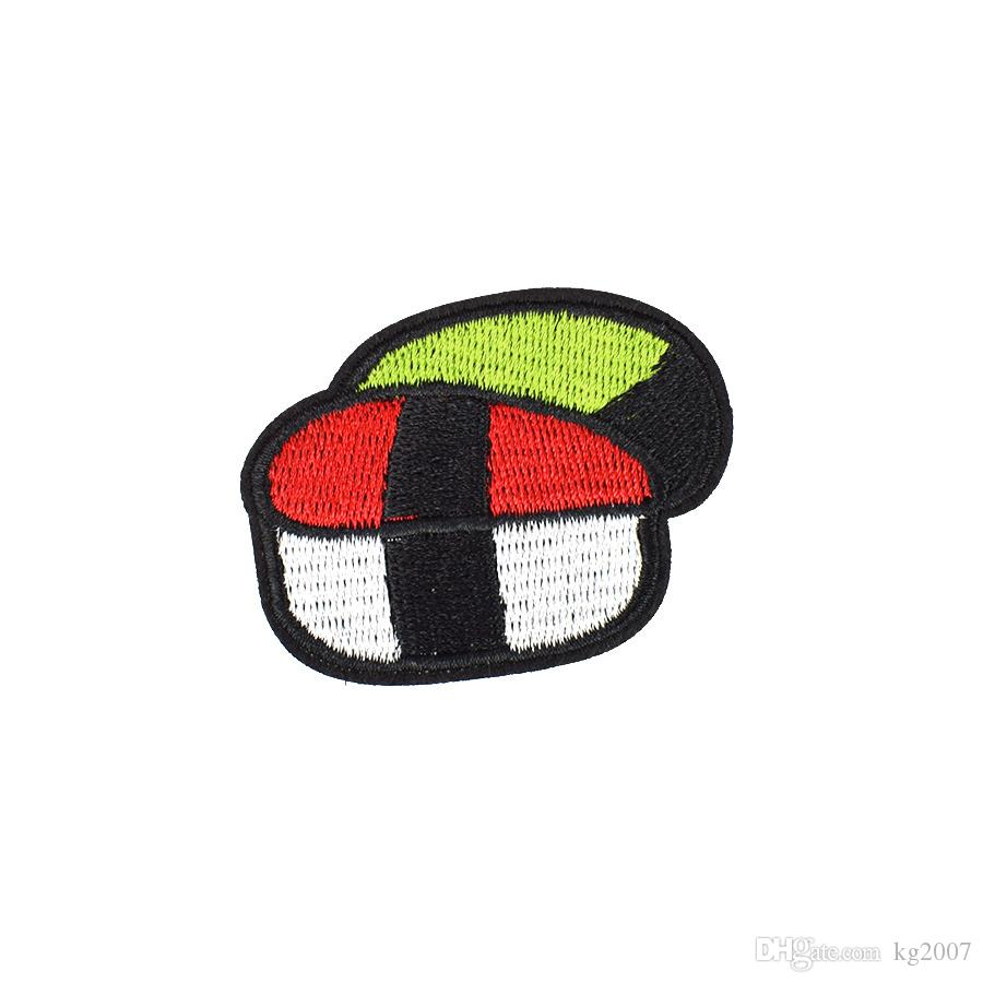 10PCS Diy Stripe Embroidery Delicious Sushi Clothes Patches for Cheap Hot Melt Adhesive Costume Patch for Apparel Sewing Patches Accessories