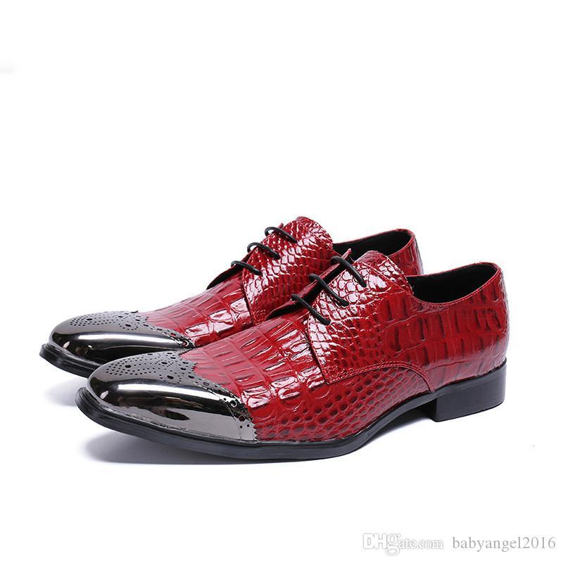 Mode Red Patent Krokodil Leder Männer Kleid Schuhe Metall Spitzschuh Schnürschuh Niedrigen Grobe Ferse Mann Hochzeit Schuhe