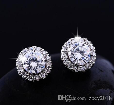 Neue Ankunft Beste Freunde 18 Karat Weißgold Überzogene Ohrringe Großen Diamanten Ohrringe für Frauen Weiß Zirkon Ohrringe