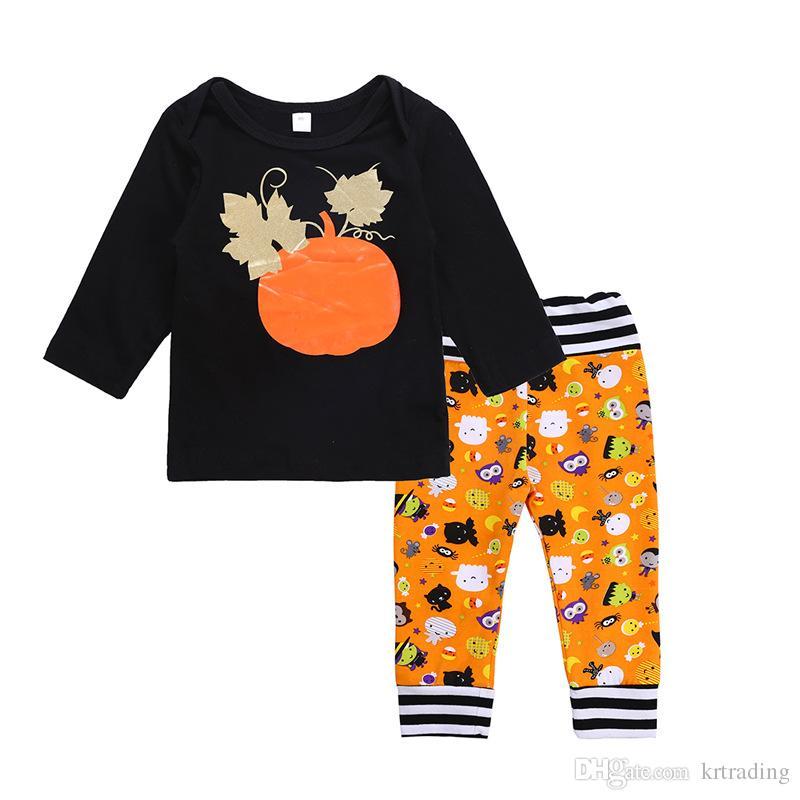 Bambino di Halloween abiti 2pc set di zucca stampata a maniche lunghe pantaloni di stampa gufi maglietta + fantasma carino neonati 0-2T festival abbigliamento