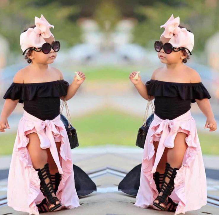 여자 의류 여름 4 개 아이 여자 아기 어깨 탑 티셔츠 반바지 스커트 머리띠 의상 세트