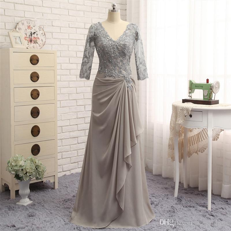 2018 waishidress grey chiffon sheath mother of the bride dresses custom 1/2 sleeves v neck mother of the groom dresses evening gowns