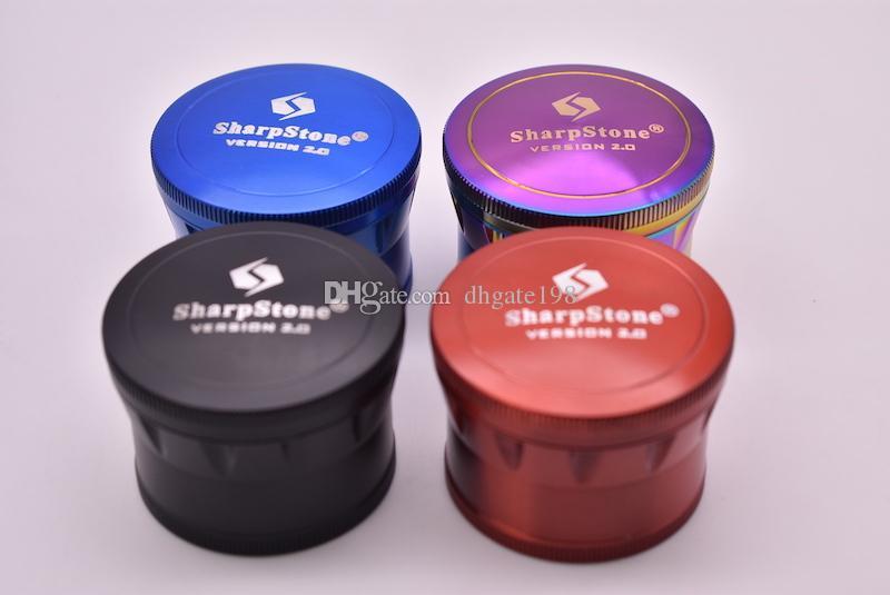 Neueste 60mm 4 Layer Zicn Legierung Sharpstone Version 2.0 Mühle Herb Tabak Mühlen Crusher Mühle für das Rauchen VS SPACE CASE