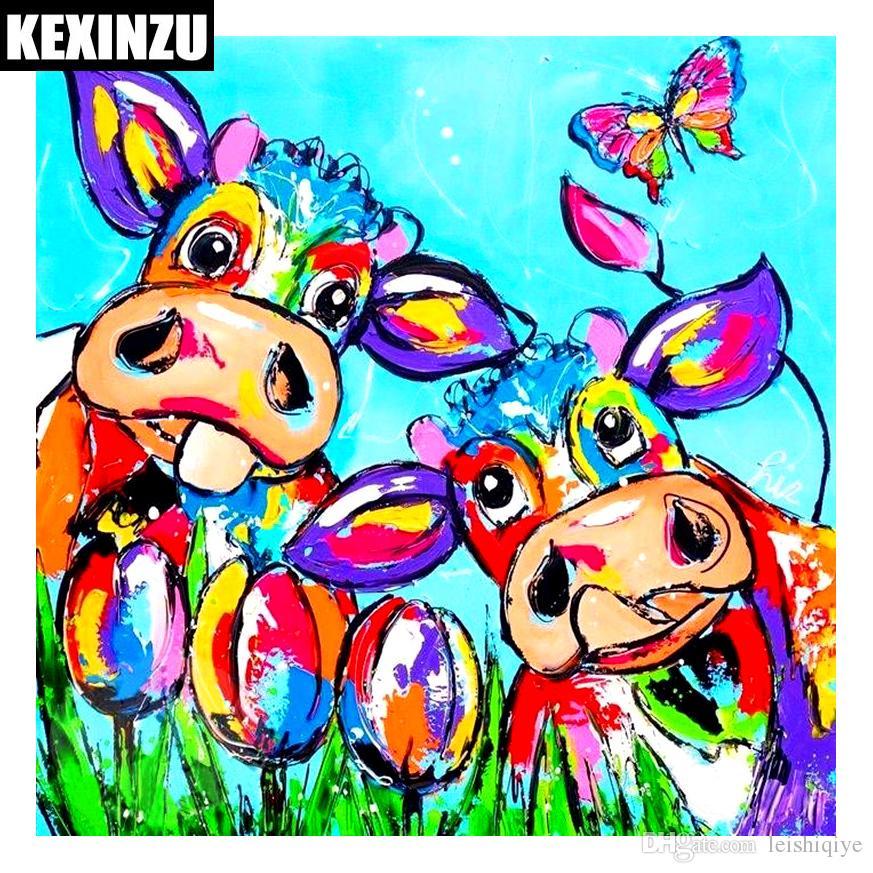 Yeni Varış 5D DIY Elmas Nakış Renkli İnek resim Elmas Boyama Mozaik Çapraz Dikiş Taklidi Dekor