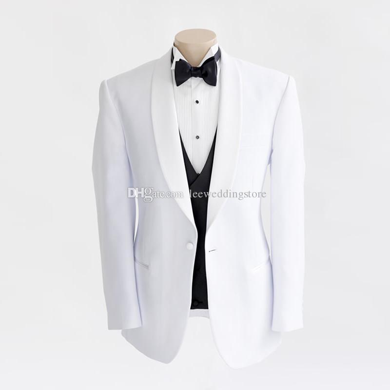 الأبيض شال التلبيب الرجال الدعاوى زفاف العريس العريس ارتداء الأعمال مخصص يتأهل البدلات الرسمية أفضل رجل السترة حفلة موسيقية 3 قطع