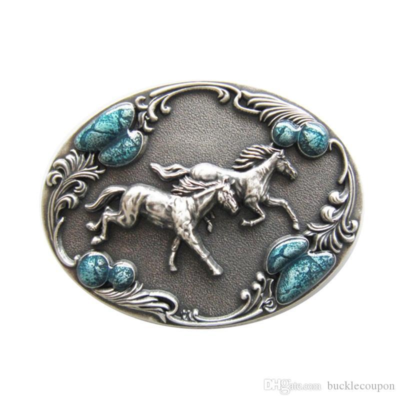 New Vintage Silver Plated Western Horses Enamel Oval Belt Buckle Boucle de ceinture