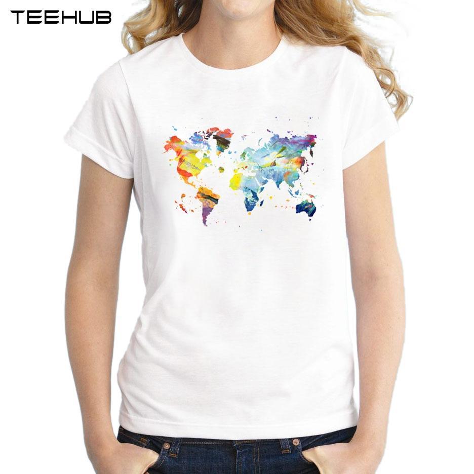 T-shirt da donna Sconto all'ingrosso 2018 Novità donna estate T-shirt a maniche corte T-shirt casual stampata con mappamondo per il mondo