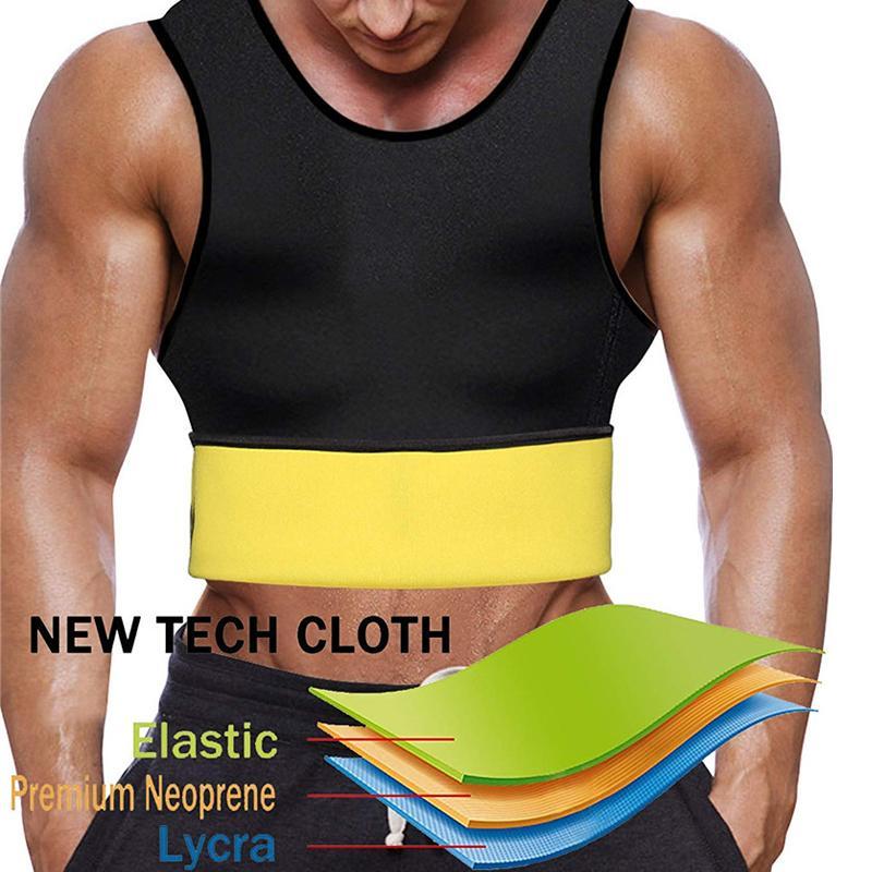 NINGMI Sıcak Termal Vücut Şekillendirici Yelek Sauna Takım Erkekler Zayıflama Gömlek Adam Spor Ince Tank Top Kemer Neopren Bel Eğitmen T-Shirt