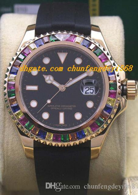 Luksusowe zegarki Rainbow Diamond 18k Rose Gold / White Gold 116695Sats Nowy Automatyczny Moda Zegarek Męski Zegarek