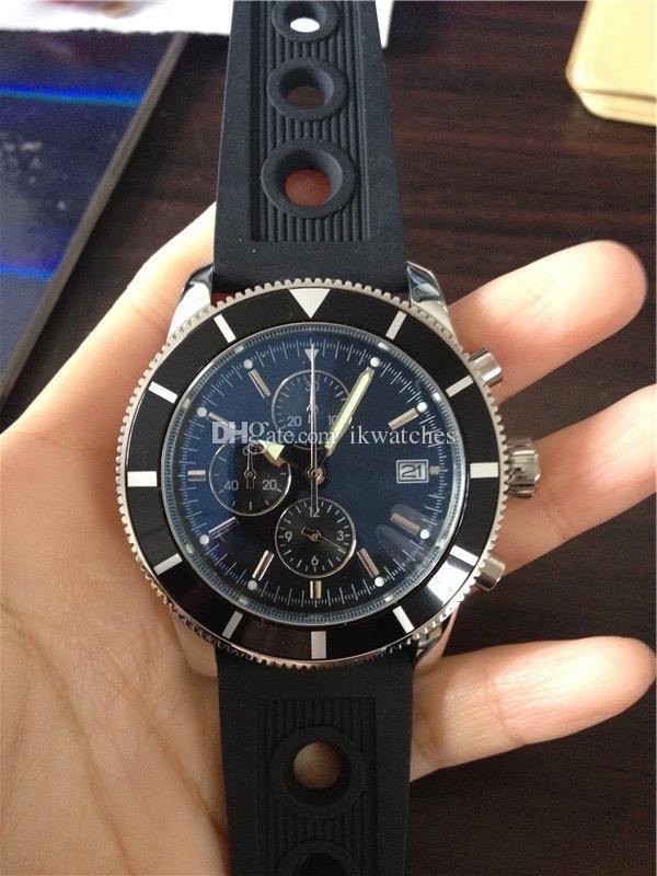 Venta caliente de goma Hombre cronógrafo 206 reloj de marcación Negro Fecha Calidad 2016 Cronómetro de cuarzo Relojes Banda Top Black Uwwko