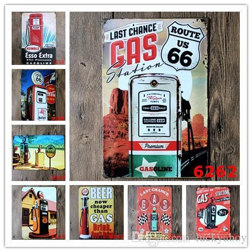 Vintage di latta del metallo segno Retro Piastre benzina Gas Oil Beer Route 66 Vintage Craft Home Ristorante Cucina KTV Bar Pub Segni di arte della parete Sticker