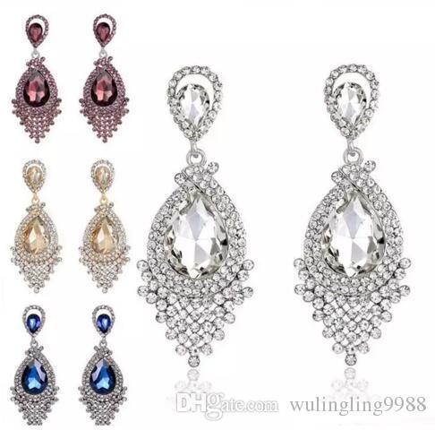 Diamante De Cristal Borla Brincos Studs De Vidro Borla Gota Dangle Brincos Presente Da Jóia Do Casamento para As Mulheres