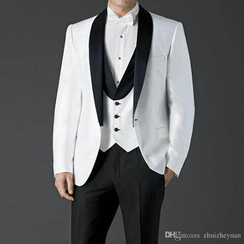 Cheap Three Piece White Wedding Suit New 2018 Custom Made Groomsmen Tuxedos Black Shawl Lapel Best Men Suits Jacket Pants Vest White Tux Suit Black