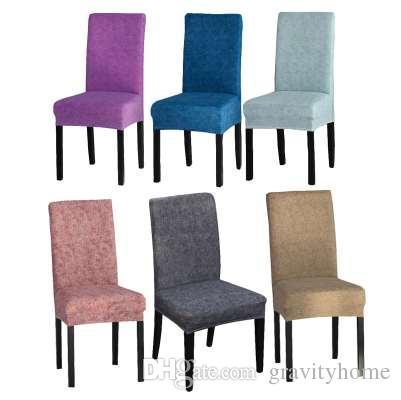 Cubierta de la silla de comedor de color sólido Combo Spandex Estiramiento Funda de Asiento de Poliéster Funda protectora de la silla antideslizante para el restaurante
