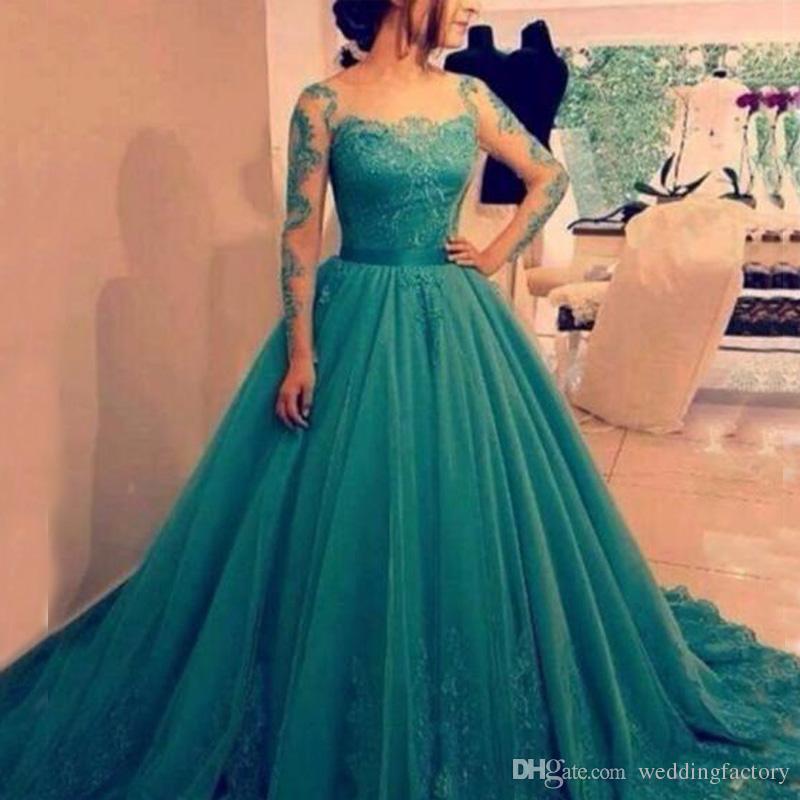 Eleganta kväll Formella klänningar Lace Appliques Sheer Long Sleeves Tulle Prom Dress Illusion Neck Arabiska Party Klänningar med Sash