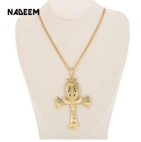 Ankh Ankh Croce di Horus Gioielli Egizio Maschio Aquila Snake Design Pendente Collana in oro-colore Collana Hip Hop Collana uomini