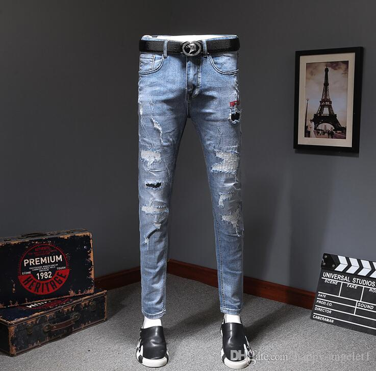 New arrive 88155 Embellished Ribbed Stretch Moto Men's Jeans Multi Pocket Biker Jeans male Slim Blue Pants/Trousers Size 28-36