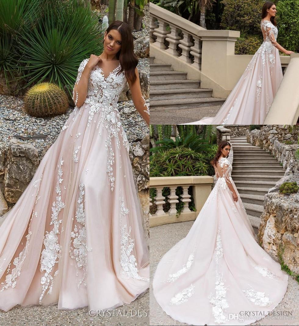 Discount 2018 Long Illusion Sleeve Bohemian Wedding Dresses Blush Pink Lace  Plus Size Bridal Gowns Court Train Covered Buttons Vestido De Novia 7800 ...