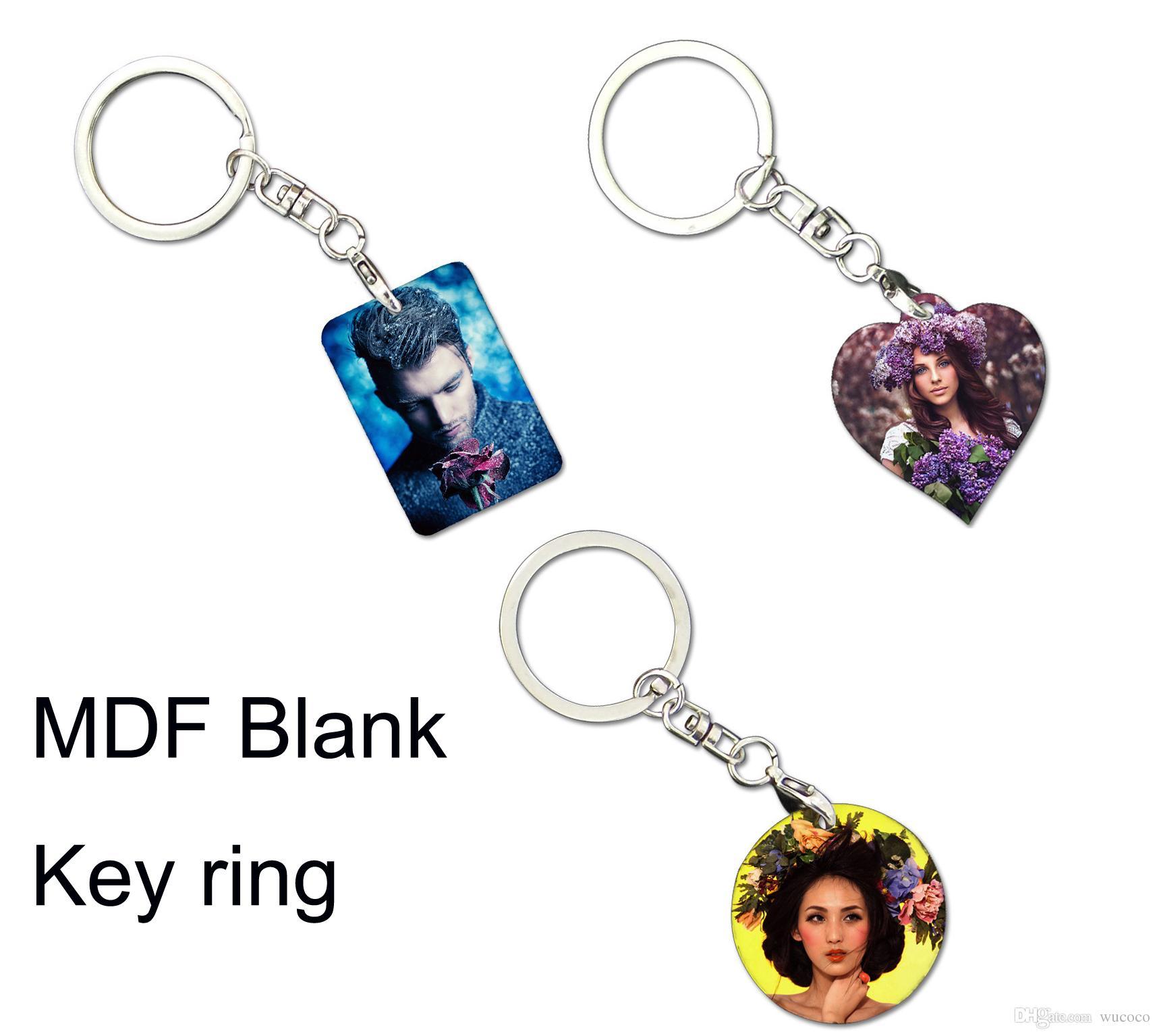 Blank Round / Square / Heart Shape MDF Sublimation Key Ring 10 stycken / Lot