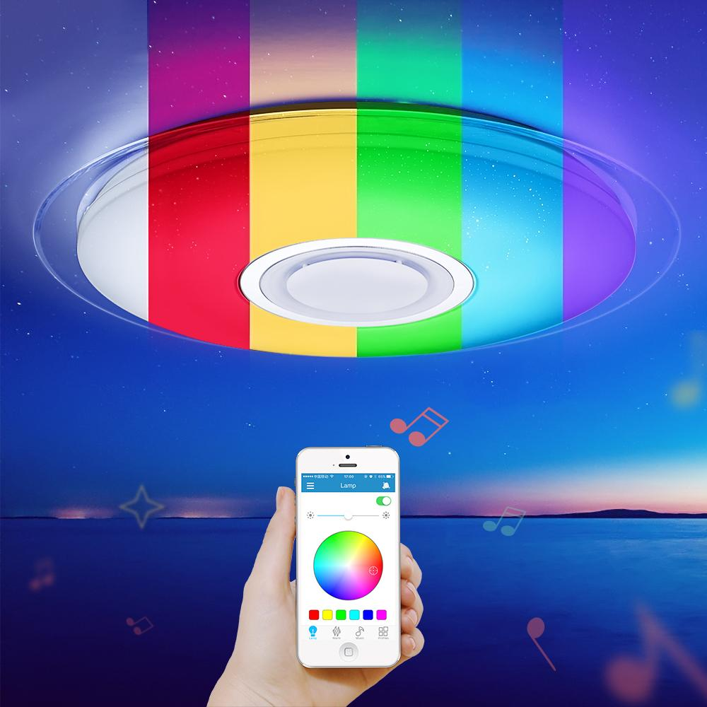 brand new 05a0c aefaa 2019 Modern Led Ceiling Light RGB Dimmable APP Remote Control Bluetooth  Music Ceiling Lamp Living Room/Bedroom 25W 36W 52W 220V From Amarylly,  &Price; ...