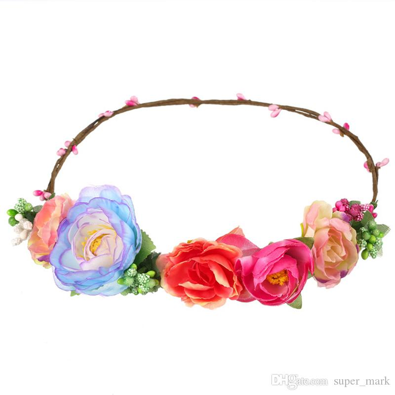 MOQ:10PCS Women Headwear Big Tea Rose Flower Hairbands Hair Accessories For Bride Wedding Headdress