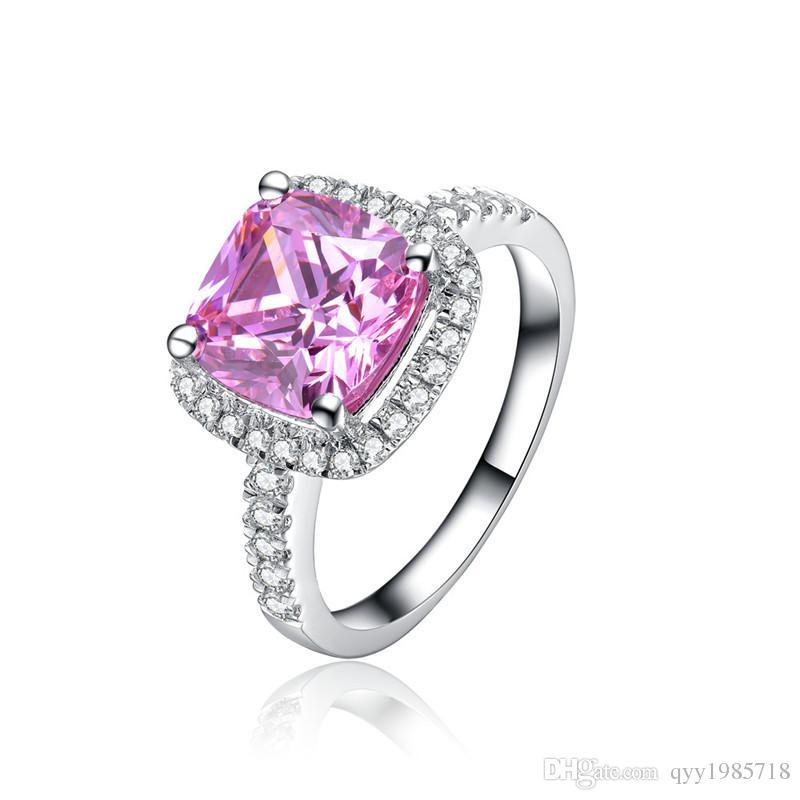 غرامة الوردي 1ct هالو نمط خاتم الخطوبة الاصطناعية الماس للنساء 925 الاسترليني والفضة والمجوهرات البلاتين مطلي خاتم الزواج