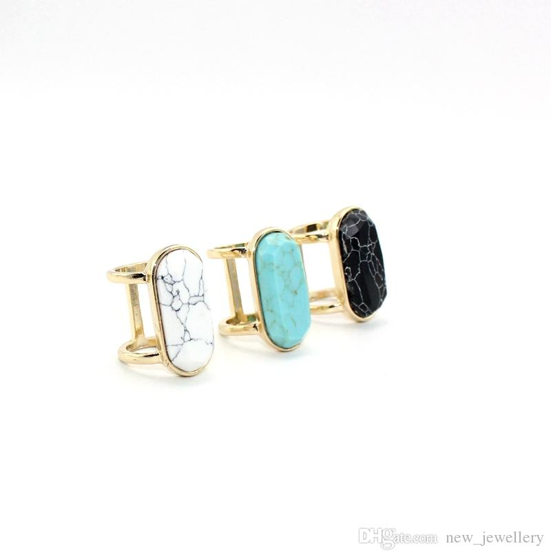 Mode vergoldet Naturstein Ring Geometrie oval weiß blau Türkis Ring für Frauen Schmuck