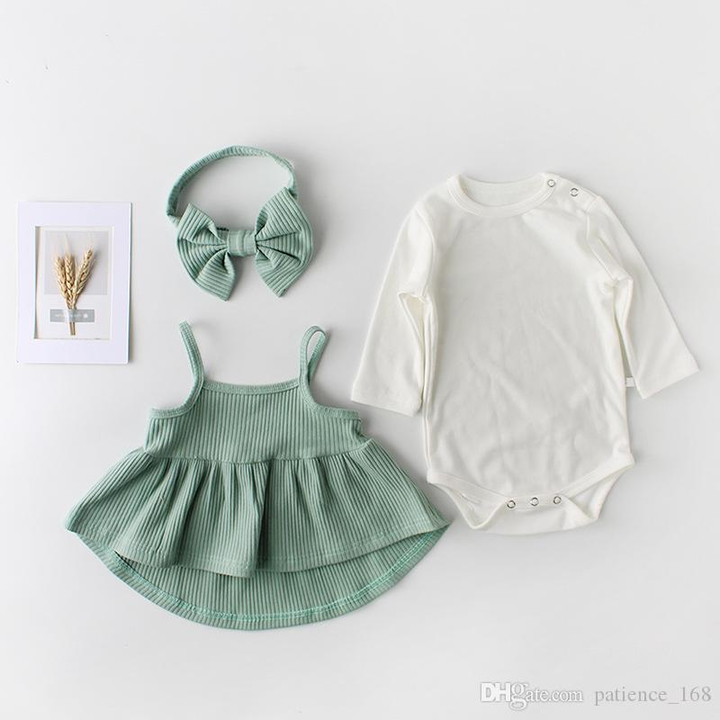 cotton sets 2018 hot selling INS autumn new style kids long sleeve white romper +dress+bowknot hair band cotton 3 sets 2 colors free ship