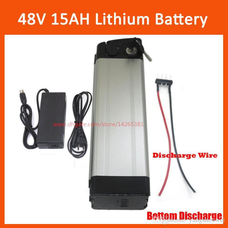 48 V 15AH Gümüş Balık Lityum Elektrikli Bisiklet Pil 13S 48VOLT 10AH 12AH Li-Ion Ebike Pil Paketi ile 54.6 V 2A şarj alt deşarj