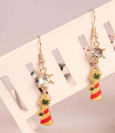 Hot Style européenne Noël vacances flocon de neige arbre de Noël boucles d'oreilles zircon cristal boucles d'oreilles bijoux mode classique raffiné élégant