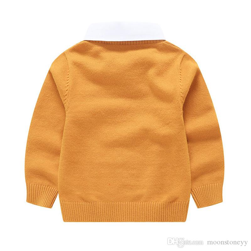 Baby Sweaters Boys Long Sleeve Spring Autumn Kintted Sweater Cute Cartoon  Red Yellow Grey Shirt Collar Baby Clothes Boys Cardigan Knitting Patterns