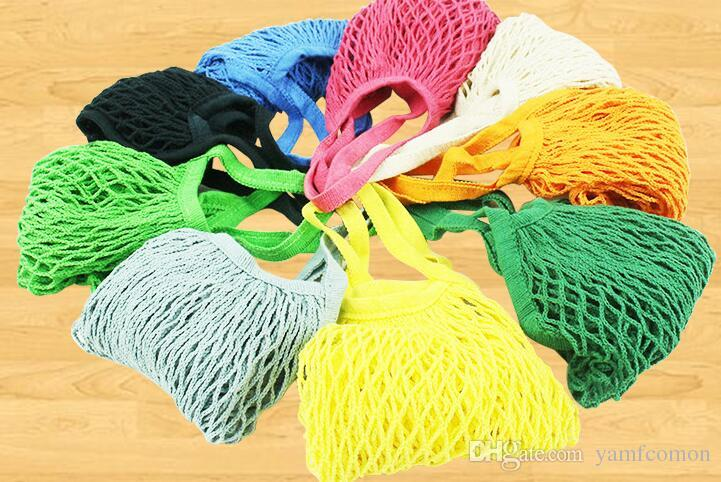Storage Baskets 35*40cm Fashion Fruit Vegetables Grocery Bag Mesh Net Woven Cotton Shoulder Bags Home