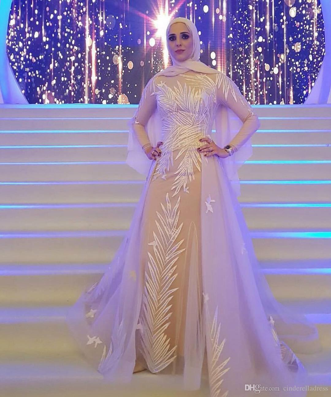 Compre Precioso Musulmán Cuello Alto Una Línea De Vestidos De Noche ...
