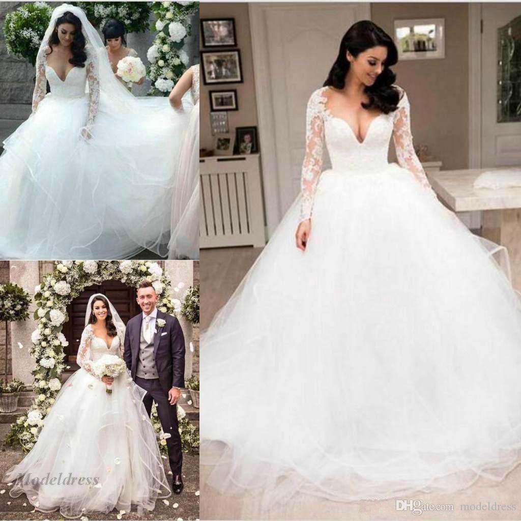 Ilusión vestidos de novia de manga larga Sexy profundo cuello en V una línea con gradas de encaje de tul apliques románticos vestidos de boda al aire libre diseñador por encargo