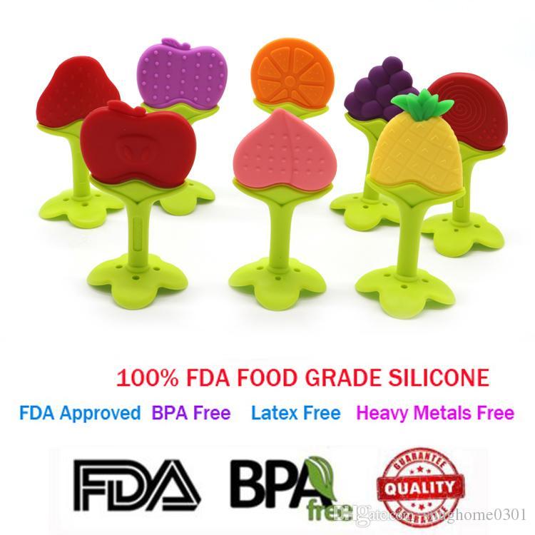 BPA-Free FDA утвержденных силиконовые детские прорезывания зубов игрушка симпатичные фрукты образный прорезыватель игрушка лучше всего для облегчения боли в деснах и детей с особыми потребностями