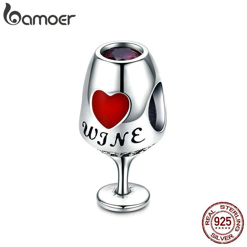 العصرية الجديدة 925 الفضة الاسترليني كأس النبيذ القلب تمهيد سحر الخرز صالح سحر أساور القلائد diy مجوهرات هدية صنع